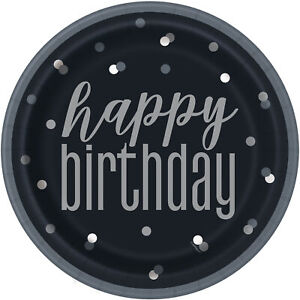 """PACK OF 8 BLACK SILVER HAPPY BIRTHDAY GLITZ PAPER PARTY PLATES 9/"""""""
