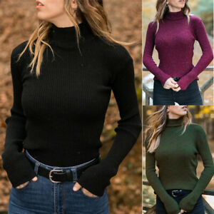 Long-Turtleneck-Sweater-Slim-Womens-Sleeve-Knit-Ribbed-Tops-Winter-Casual-Blouse