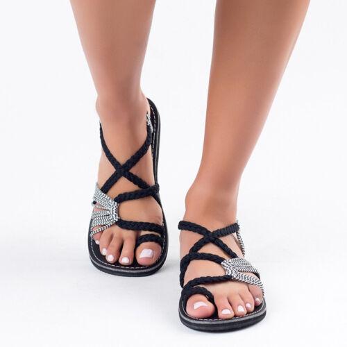 US Women Bohemian Sandals Shoes Thong Flip Flops Flat Strap Size Peep Toe Beach