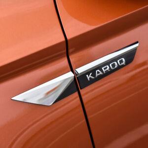 OEM-Chrom-seitlich-Kotfluegel-4tlg-ABS-Tuning-Styling-fuer-Skoda-Karoq-ab-2017