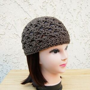 9e9bc30adf9a08 Details about Women's Men's Solid Brown Cotton Crochet Knit Hat Summer  Beanie Chemo Skull Cap