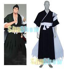 Bleach Isshin Kurosaki Halloween Cosplay Costume Overcoat Sash Top Pants black