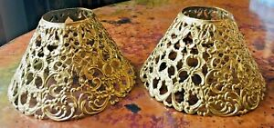 Pair-2-Antique-Pierced-Cut-Metal-Candle-Lamp-Shades-Floral-Filigree
