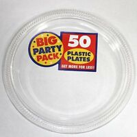 Amscan Big Party Pack 50 Count Plastic Lunch Plates, 10 1/4 Inch, Clear, New, F