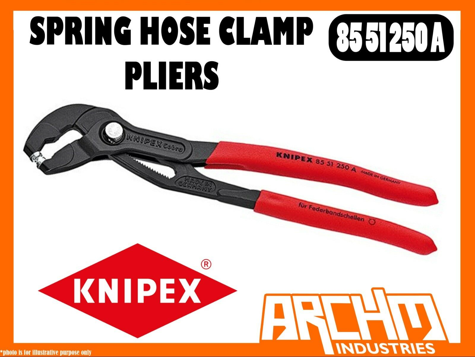KNIPEX 8551250A - SPRING HOSE CLAMP PLIERS - 250MM - UNIVERSAL GRIP INSERTS