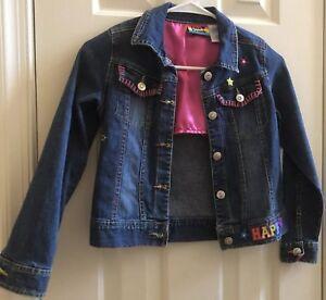 575c8305d Lisa Frank girls size 10 denim jean jacket colorful Glam Girl Pink ...