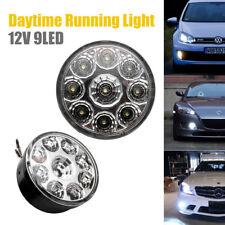 Pair White 12V 9 LED Round Daytime Running Light DRL Car Fog Day Driving Lamp m