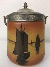 Ancien Pot À Biscuits Art Nouveau Décor Lacustre Marine Bateaux Port Legras