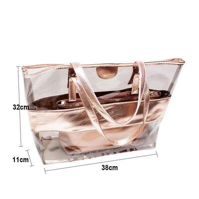 Wasserdichte Taschen Streifen PVC Strand Schulter Beutel mit Kosmetik Tasche