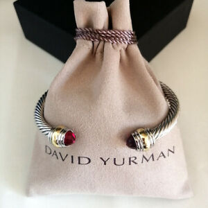 David Yurman Cable Bracelet Red Garnet 5mm Sterling Silver &14k Gold Cuff Bangle
