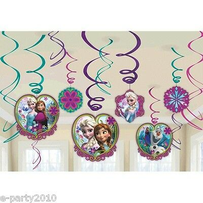 DISNEY FROZEN HANGING SWIRL DECORATIONS (12pc) Birthday Party Supplies Anna Elsa