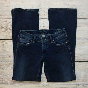 Silver-Aiko-Jeans-Size-27-Womens-Bootcut-Medium-Dark-Wash-Stretch-28-034-Inseam