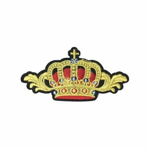 Gold-Crown-Wings-Iron-On-Embroidery-Applique-Patch-Sew-Iron-Badge