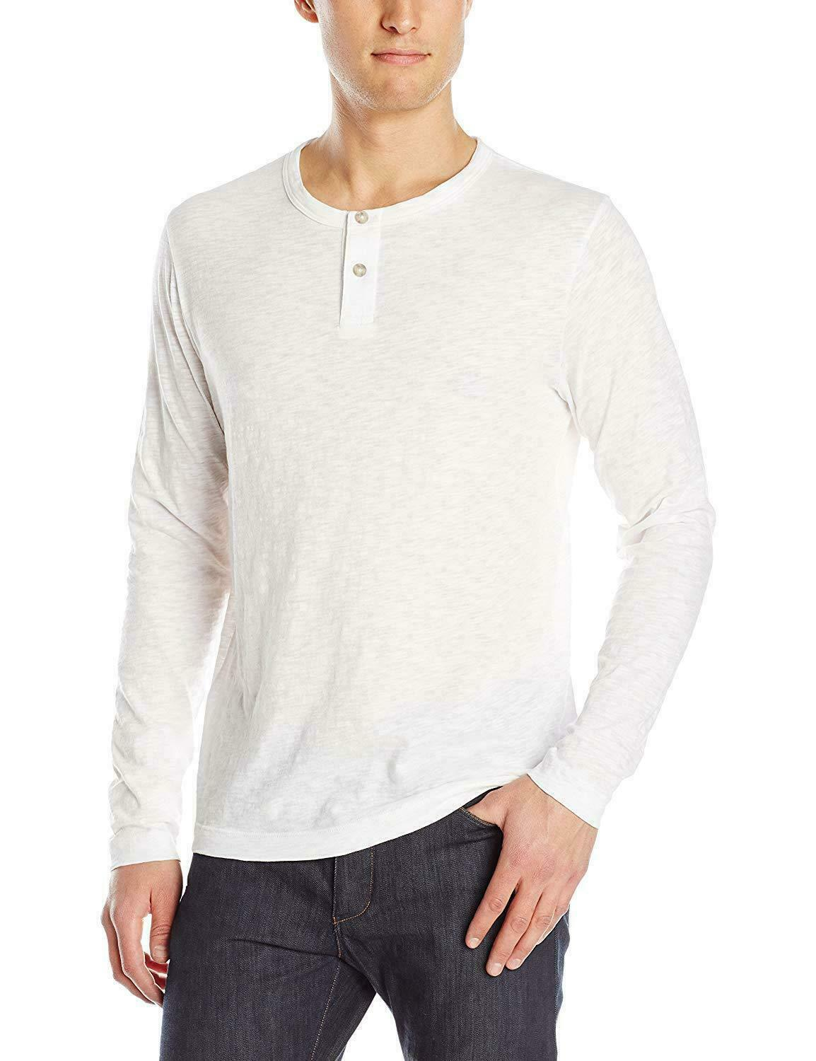 Theory Mens Weiß Slub Cotton Long Sleeve Henley Shirt M 2XL