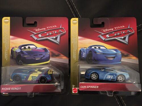 Bündel von 2 Autos Disney Pixar Cars Richie Gunzit und Cam Spinner
