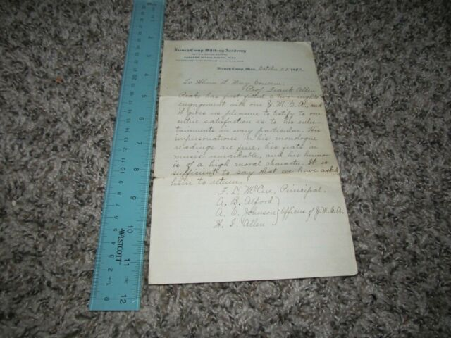 1910 Handwritten Letter Letterhead French Camp Military Academy Mississippi