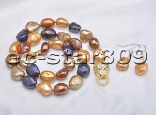 """D0281 17/"""" 14mm Baroque Freshwater Pearl Necklace /& Earring Panthera"""