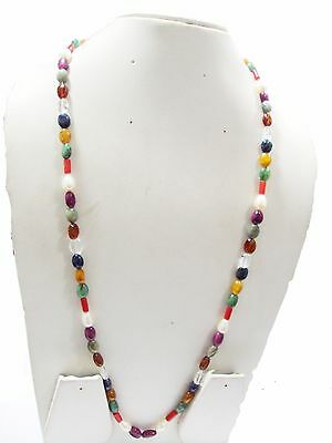 PRECIOUS GEMSTONES NAVRATNA NECKLACE WITH ALL GENUINE GEMSTONES 24 INCH LONG