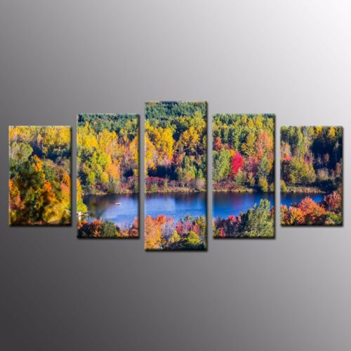FRAMED Landscape Wall Art Lake in Forest Stretched Canvas Print Pianting5pcs