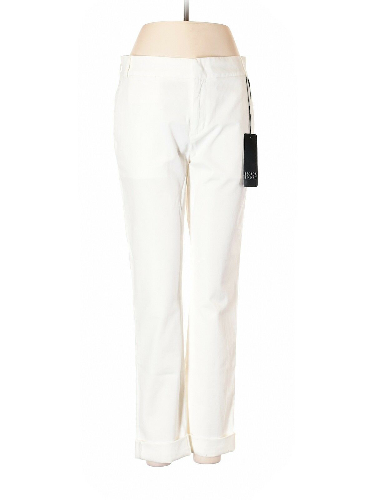 NWT Escada Sport White Cotton Blend Pants Size 34 Made in