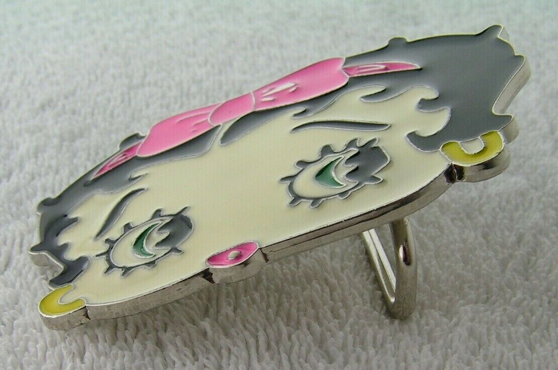 Betty Boop Head Belt buckle. Pink Bow Chrome and Enamel