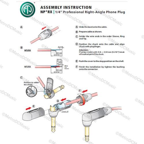 2-Pack Neutrik NP2RX-BAG Right Angle Mono 1//4 Nickel Black Guitar Speaker Plug