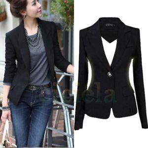 Women s One Button Slim Fit Casual Business Blazer Suit Jacket Coat ... 34efd67687