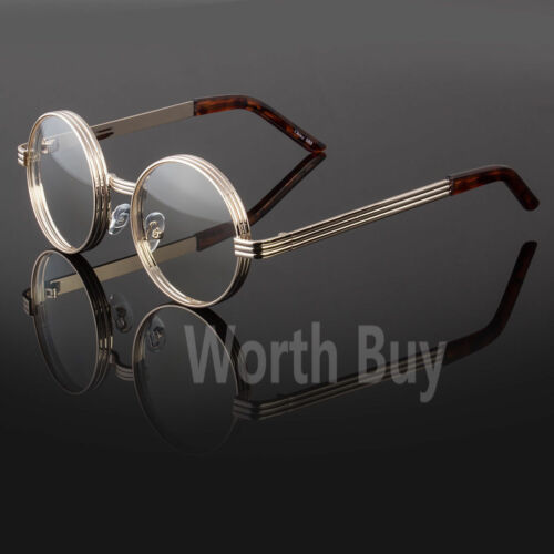 Mens Womens Fashion Steampunk Clear Eye Glasses Round Metal Frame Retro Designer