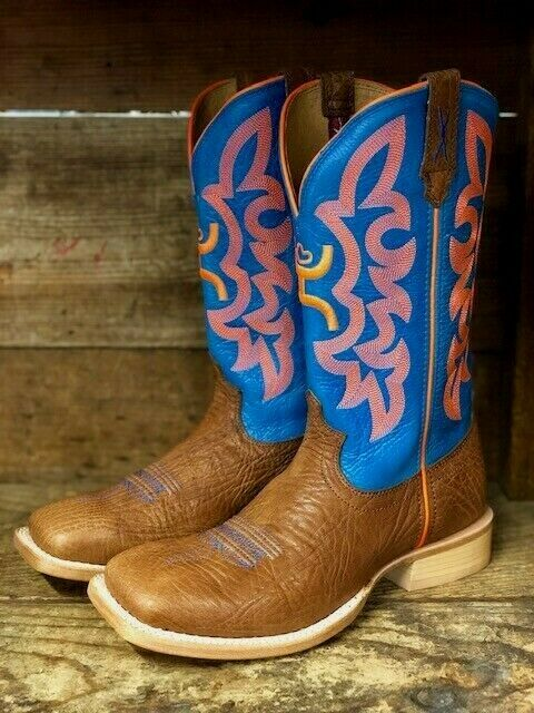 Twisted X Men's Cognac Bull Hide & Neon bluee Square Toe Western Boots MHY0004