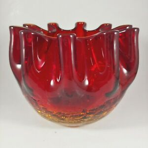 vtg HANDMADE Amberina Red & Gold Ruffled / Crimped Crackle Glass Rose Bowl Vase
