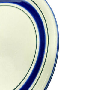Country-Crock-Stoneware-Dinner-Plates-Blue-Green-Band-10-3-4-Set-of-3-Farmhouse