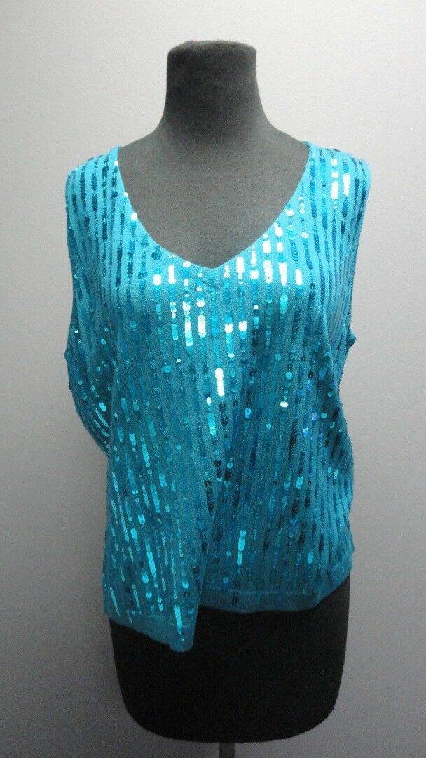 ST. JOHN Teal Silk Sleeveless V Neck Sequin Tank Top Blouse Sz L FF7093