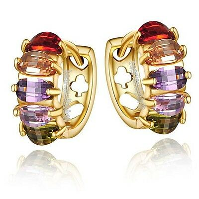 18k gold GP colorful SWAROVSKI crystal huggie earrings E961