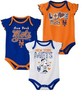 best website 8a988 ad97e Details about MLB New York Mets Baby Girls 3pk Flutter Short Sleeve  Bodysuits - Choose Size