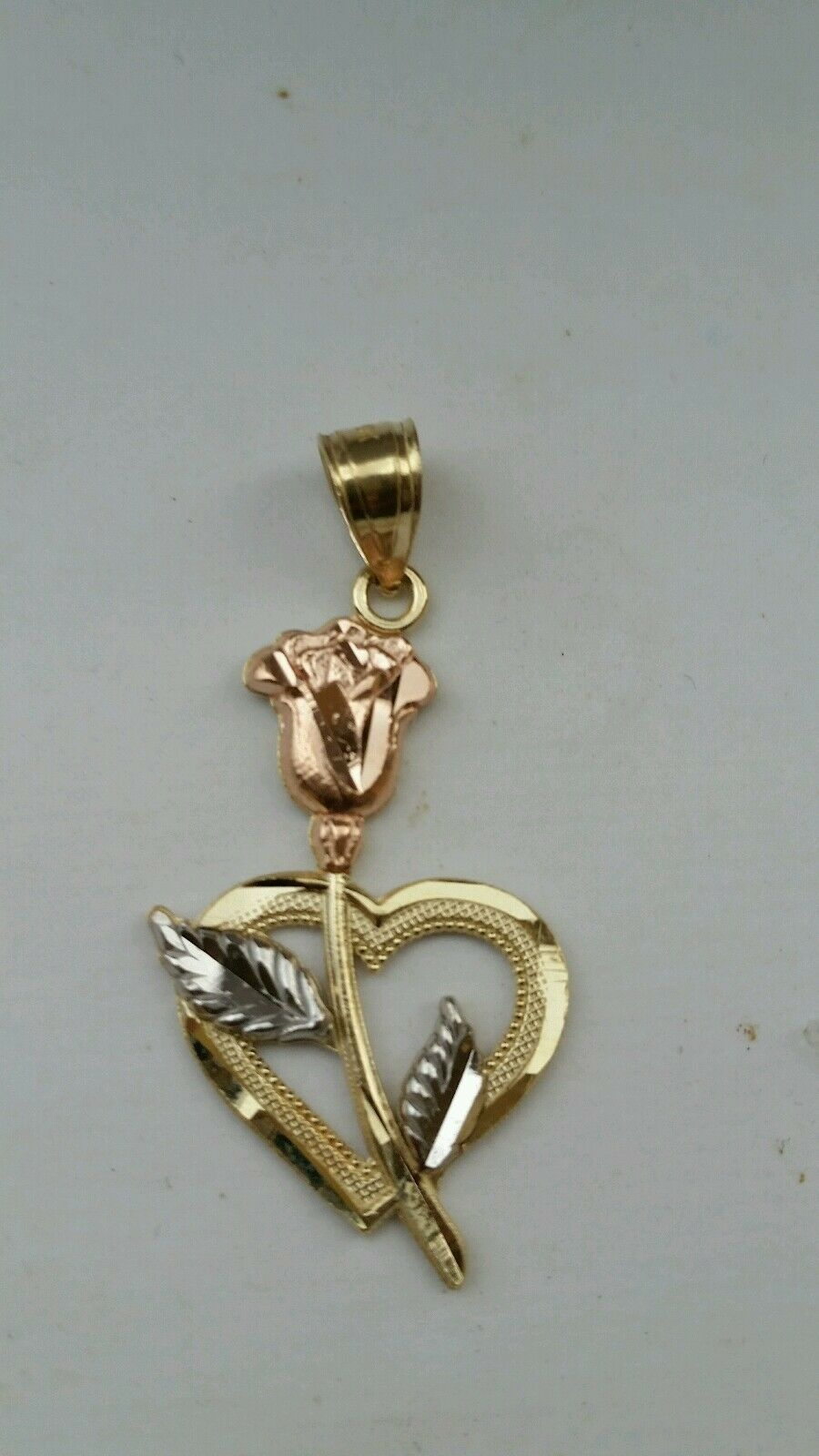 10k real solid pink White Yellow gold Flower Heart Pendant