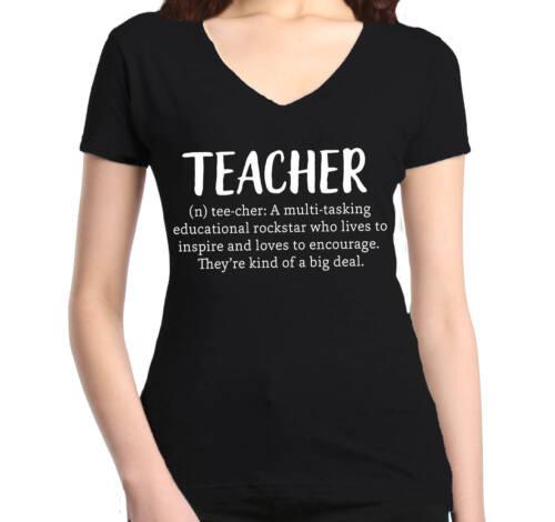 Teacher Definition Women/'s V-Neck T-shirt Teacher Appreciation School Gift Tee