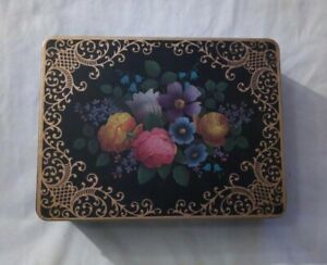 Vintage Biscuit Tin Made in England Floral With Lid and Handle Gold Cookie Tin