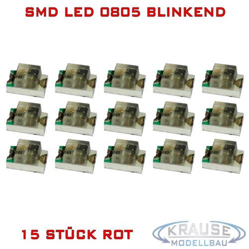 SMD Blink LED 0805 rojo destellante Flash luz parpadeante modellbau KFZ 15 unid.
