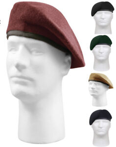 Military-US-Army-Pre-Shaved-Inspection-Ready-No-Flash-Wool-Beret-4949-Rothco