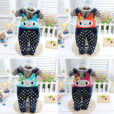 2 Pcs Baby Girl Kids Suit Set Outfit Outwear Outer Kitty Cat Top Strape Pants