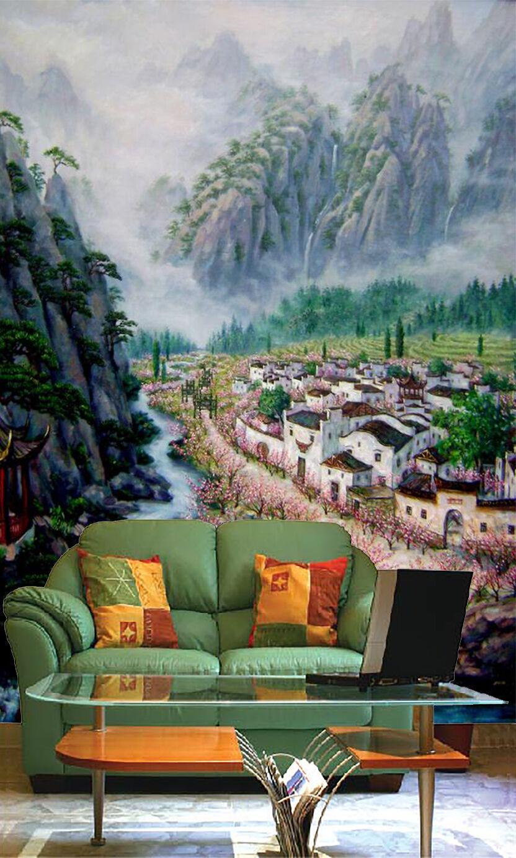 3D Village Mountain River 0019 Wall Paper Wall Print Decal Wall AJ WALLPAPER CA