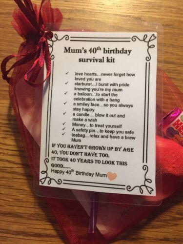 * unique faite main cadeau Mum/'s 40th Anniversaire Fun kit de survie