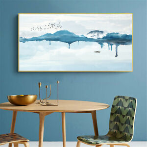 Lake Mountain Bird Ink Painting Canvas Poster Picture Home Decor Wall Hangings