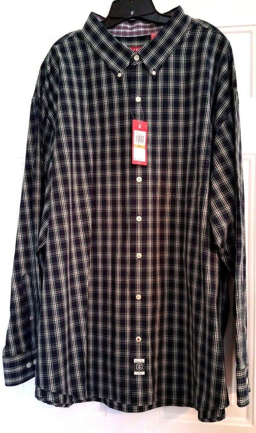 Izod Mens Big & Tall Plaid Shirt Size 4XL NWT  Shetland Tartan bluee Green
