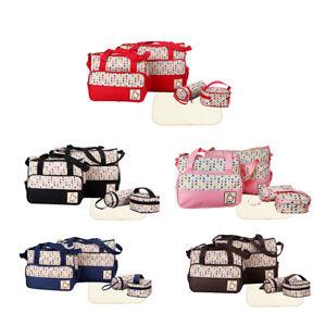 5Pcs Polka Dots Baby Changing Bag Diaper Nappy Maternity Mummy Bag Waterproof