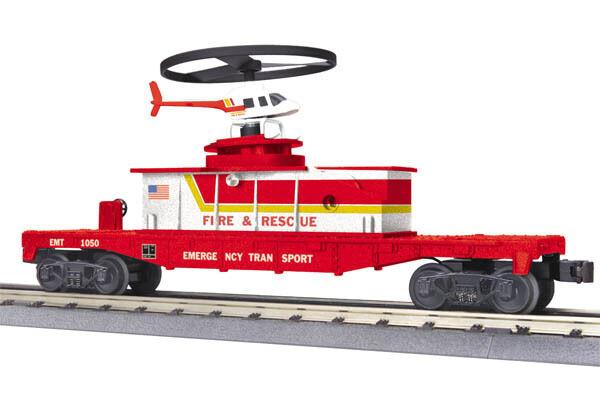 solo cómpralo MTH 30-79299 plana plana plana coche con helicóptero de funcionamiento Fuego & Rescue Nuevo en la caja  auténtico