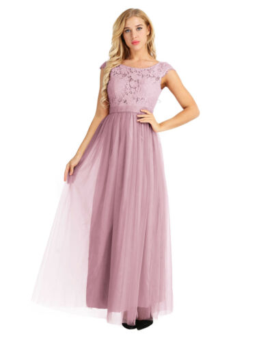 Women/'s Lace Long Chiffon Dress Bridesmaid Wedding Evening Party Ball Prom Gown