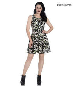 Hell-Bunny-Black-Lace-Up-Goth-Punk-Mini-Dress-PEEPERS-Eyeballs-Flowers-All-Sizes