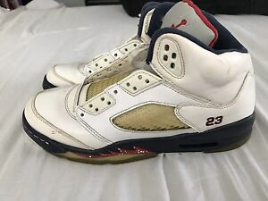 Mens-Youth-Size-6-Air-Jordan-Retro-5-Independence-Day-July-4th-2011-Bred-OG-Rare