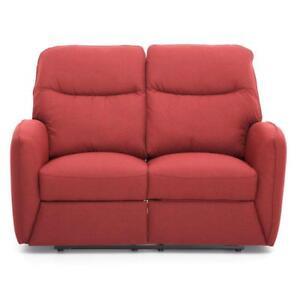 Divano kube 2 posti recliner relax tessuto rosso ...